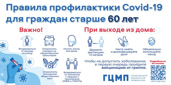 правила профилактики COVID-19 для граждан старше 60 лет